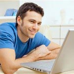 A man having online counselling via computer